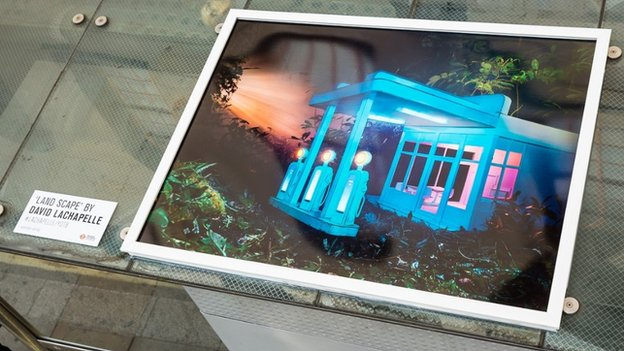 David LaChapelle photograph installed on top of London bus shelter